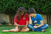 Boy and girl with Ipad