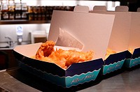 Fish and Chips on Counter