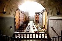 Street Scene Viewed, Through Arched Balcony, Stockholm, Sweden