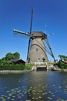 Stone drainage windmill at Kinderdijk, a UNESCO World Heritage Site at South Holland, the Netherlands