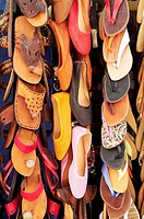 Morocco, Essaouira, Shoes and sandals for sale in the medina
