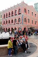 Street scene in downtown Macau showing colonial Portuguese architecture, Macau, China