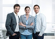 Group of business people in office smiling