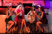 Four young women on hen night (thumbnail)