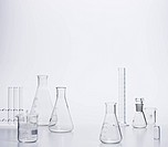 Empty Chemical Flasks Test tubes on Desk