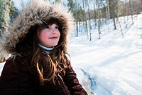 Girl wearing winter coat, portrait (thumbnail)