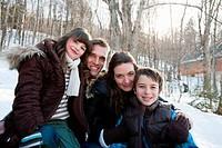 Family in snow, portrait