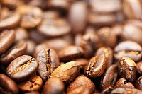 Roasted organic coffee beans