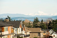 Suburban street and view of mountains, Victoria, British Columbia