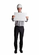 Young male Architect holding up blank sign