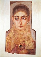 Egyptian civilization, Hellenistic Ptolemaic Period, 2nd century b.C. Funeral portraits of Fayoum or Fayyum. Portrait of a young woman, encaustic deco...