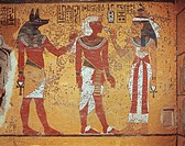 Egypt - Ancient Thebes (UNESCO World Heritage List, 1979) - Luxor - Valley of the Kings - Tomb of Tutankhamen. Burial chamber. Detail of mural paintin...