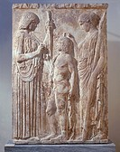 Greek civilization, 5th century b.C. The triad of the Eleusinian Mysteries: Persephone, Demeter and Triptolemus. Marble bas-relief found at Eleusis 44...