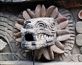 Mexico, Teotihuacan, Stone snake´s head from Temple of Feared Snake