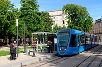 Reims tramway, a transportation system opened in April 2011, Reims, Marne, Champagne-Ardenne, France