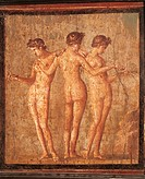 Roman civilization, 1st century A.D. Fresco depicting 'The Three Graces'. From Pompeii  Naples, Museo Archeologico Nazionale (Archaeological Museum)