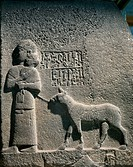 Hittite civilization, 1st millennium b.C. Basalt relief with hieroglyphic inscriptions, from procession route of Carchemish, Turkey.  Ankara, Anadolu ...