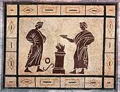Roman civilization, 1st century A.D. Mosaic depicting a sacrifice scene.  Rome, Museo Nazionale Romano (National Roman Museum, Archaeological Museum) ...