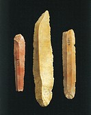 Prehistory, Italy, Paleolithic. Blades and scrapers, from Erice.  Trapani, Museo Pepoli (Art Museum)