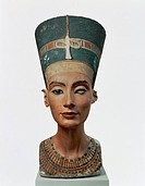 Egyptian civilization, New Kingdom, Dynasty XVIII. Bust of Queen Nefertiti.  Berlin, Ägyptisches Museum Und Papyrussammlung (Egyptian Museum And Papyr...