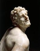 Greek civilization, 3rd century b.C. Marble statue of kneeling Gaul. Roman copy of a Pergamon school original, part of the Stoa built by Attalus II on...