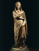 Roman civilization. Marble statue portraying a Roman matron. From the colony of Cirta, Algeria.