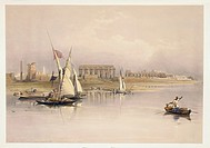 Egypt, ruins of Luxor from River Nile, engraving based on drawing by David Roberts