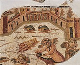 Roman civilization, 3rd century A.D. Mosaic depicting a villa on the seashore. Detail. From Carthage, Tunisia.  Tunis, Musée National Du Bardo (Archae...