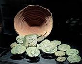Roman civilization, 4th-3rd century b.C Coins discovered in 1927 in the surroundings of Civitavecchia (Rome province).  Roma, Museo Nazionale Romano P...