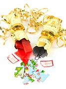 Christmas crackers isolated against a white background