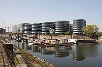Modern building Five Boats, Marina Duisburg, inner harbor, Duisburg, North Rhine-Westphalia, Germany, Europe