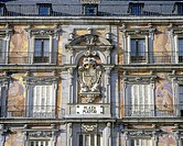Spain, Europe, Madrid, Plaza Mayor, architecture, coat of arms, Casa de la Panaderia, facade