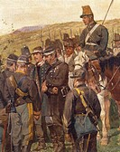 Italy - 19th century, Third War of Independence - Prince Amedeo of Savoy wounded at the Battle of Custoza, 24 June 1866. Painted by Giovanni Fattori (...