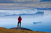 Tourist looking at Kangia Icefjord, Disko_Bay, UNESCO_World Heritage Site, West_Greenland, Greenland