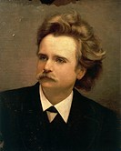 Unknown Italian painter (19th century), Portrait of Edvard Hagerup Grieg (Bergen, 1843-1907), Norwegian composer.  Napoli, Conservatorio Di Musica San...