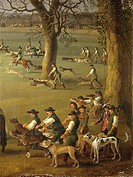 Italy, Naples, painting of Ferdinand IV hunting wild boars in estate of Cassano