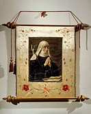 Italy - 16th century. Portrait of Saint Angela Merici (Desenzano del Garda, 1474 - Brescia, 1540), founder of the Order of Ursulines.Procession banner...