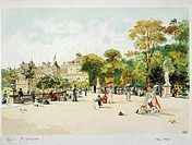 France - Paris - 19th century. The Jardin de Luxembourg in 1895.  Paris, Bibliothèque Des Arts Decoratifs (Library)