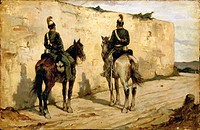 Italy, Biella, painting of Light Cavalrymen
