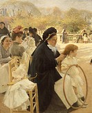 France, Paris, oil on canvas painting of The Luxembourg Gardens