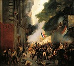 Pierre-Jerome Lordon (1780-1838), Attack to the Swiss Barrack on Rue de la Babylone in Paris, during the Revolution of 1830.  Versailles, Château De V...