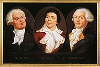 France - 18th century. French Revolution. Portraits of Georges-Jacques Danton (Arcis-sur Aube, 1759 - Parigi, 1794), Jean-Paul Marat (Boudry, 1743 - P...