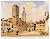 Italy - Cremona - middle of the 19th century. View of the town by C.Gilio.  Cremona, Museo Civico Ala Ponzone (Art Museum)