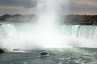 maid of the mist boat on the niagara river approaching niagara horsehoe falls ontario canada