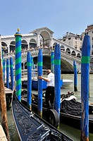 The Rialto Bridge (Italian: Ponte di Rialto). One of the four bridges spanning the Grand Canal. The present stone bridge, a single span designed by An...