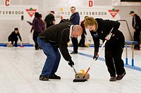 Participants having fun playing the game of curling, Gibsons, British Columbia, Vancouver coast and mountain region, Canada