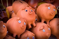 Clay piggy banks in a handcrafts sample, Madrid, Spain, Europe
