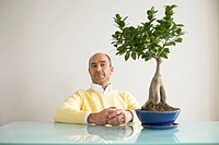 Mature man sitting in front of table with potted plant