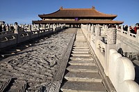 White marble carved royal staircases in front of Hall of Supreme Harmony (Tai He Dian), the ceremonial center of imperial power since Ming dynasty, Fo...