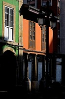 Balconies and porches typical of the city of Avilés, Asturias, Spain